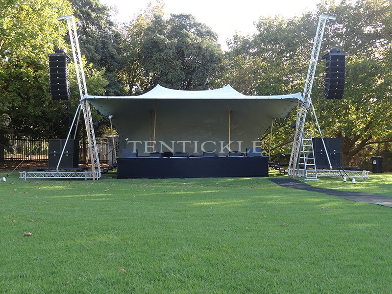 Find out more about our stretch fabric festival tents on our staged events tents page. Alternatively you can download our staged events brochure here. & Stage tents and events - View our portable stage cover photos